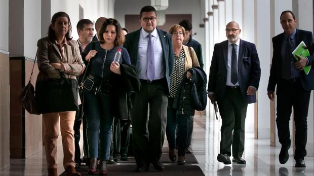 Los diputados del grupo parlamentario de Vox con Serrano a la cabeza. A su derecha, Ana Gil Román