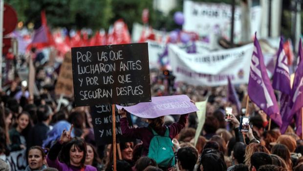 Manifestación convocada por el movimiento feminista con motivo del Día de la Mujer en Sevilla en 2018
