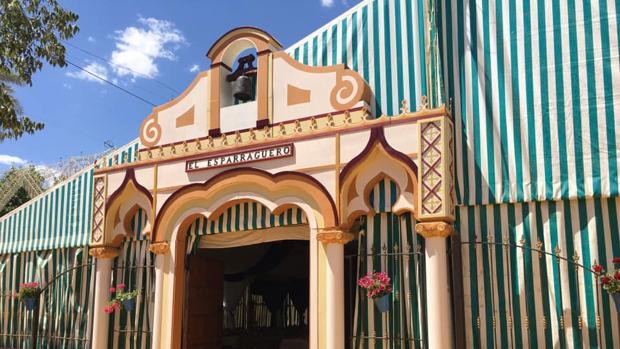 Caseta de la hermandad del Cristo de Gracia de Córdoba en la Feria de Nuestra Señora de la Salud