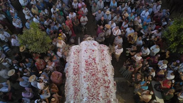 La carreta del Simpecado de la hermadnad del Rocío de Córdoba llega hata la aldea del Rocío