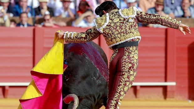 """El torero Julían López """"El Juli"""" en un quite a su primer toro"""