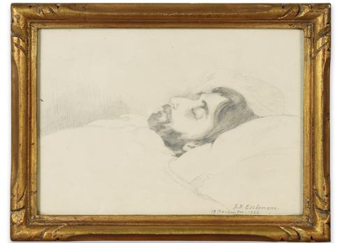 Retrato que Jean-Bernard Eschemann realizó de Marcel Proust en su lecho de muerte