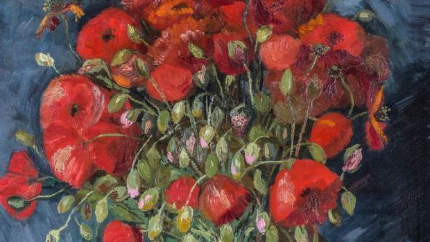 Detalle de «Florero con amapolas», de Van Gogh