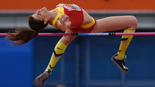Ruth Beitia, en acción durante la final