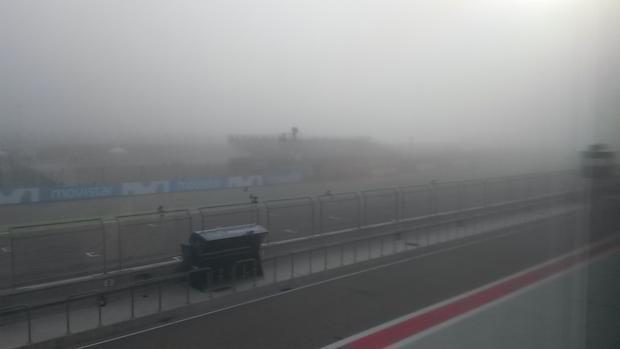 Aspecto de la parrilla en el GP de Aragón a primera hora de la mañana