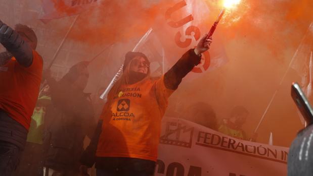 Imagen de archivo de una de las manifestaciones de trabajadores de Alcoa