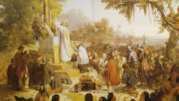 'Primera Misa en Brasil' con Anchieta cuadro de Vitor Meireles en el Museo Nacional de Belas Artes