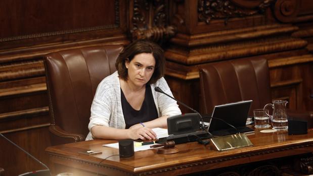 La alcaldesa, ayer durante el pleno municipal