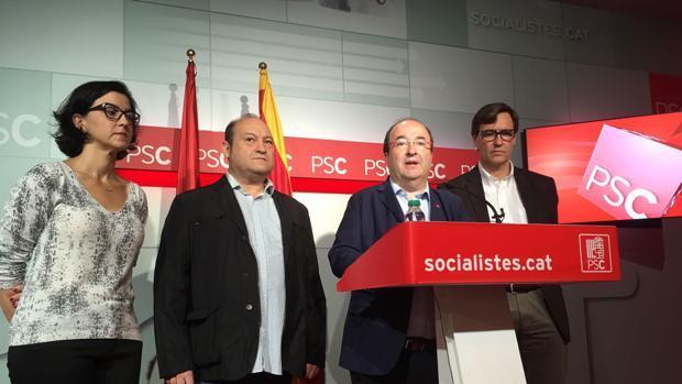 El líder del PSC, Miquel Iceta, durante una rueda de prensa