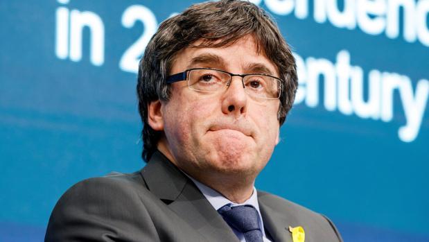 Carles Puigdemont, durante su intervención en Ginebra