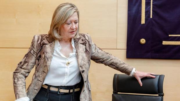 La consejera de Economía y Hacienda, Pilar del Olmo, en las Cortes para explicar la ejecución presupuestaria