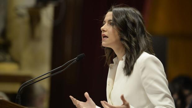 La líder de Ciudadanos en Cataluña, Inés Arrimadas, hoy en el Parlament