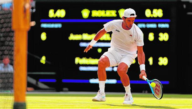López durante su partido del jueves ante Del Potro, en el que fue eliminado en la segunda ronda de Wimbledon