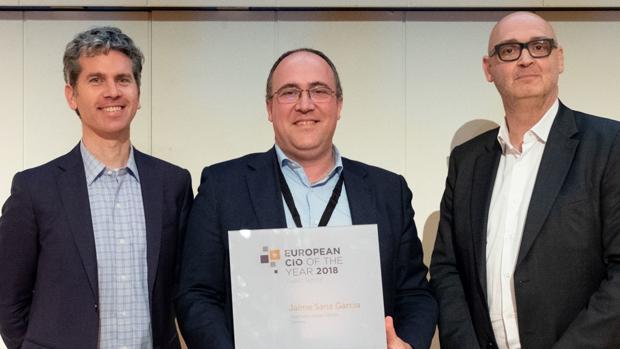 El exdirectivo de Correos, Jaime Sanz, durante la entrega del premio a mejor CIO, en 2018