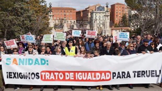 Los turolenses expresaron su hartazgo el 10 de febrero en una masiva manifestación para exigir una mejor Sanidad