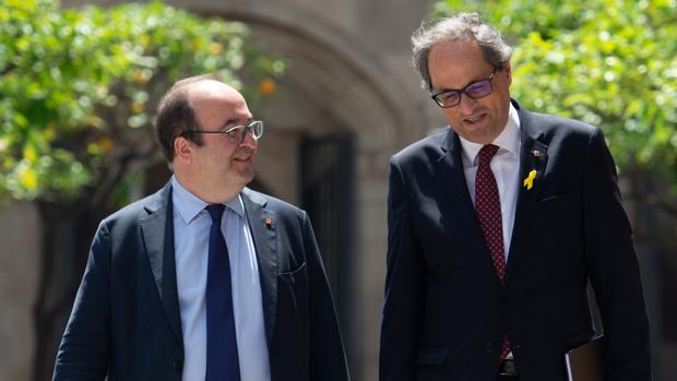Miquel Iceta y Quim Torra en el Palau de la Generalitat
