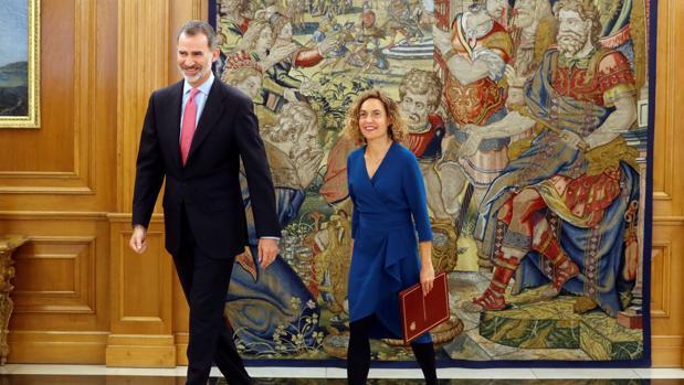 El rey Felipe recibió el miércoles a la presidenta del Congreso, Meritxell Batet