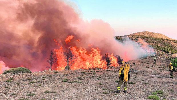 Varios bomberos luchan contra el incendio declarado el sábado en Sotillo de la Adrada (Ávila)
