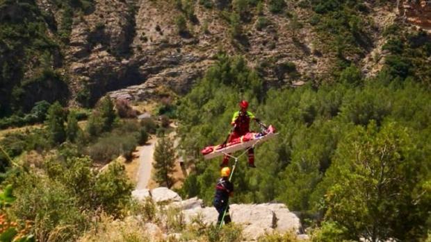 Imagen del rescate del escalador en Jérica