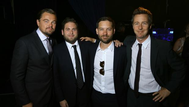 Leonardo DiCaprio, Jonah Hill, Tobey Maguire y Edward Norton, en la gala celebrada en Saint-Tropez