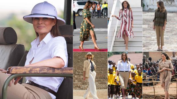 Melania Trump con algunos de sus looks en su gira africana