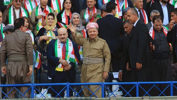 El presidente de la entidad kurdo-iraquí, Barzani, en un mitin en favor del referéndum secesionista