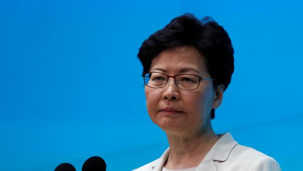La jefa del Gobierno de Hong Kong Carrie Lam en una conferencia hoy martes