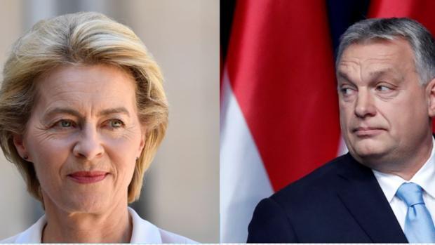 Montaje de fotografías donde aparecen Ursula von der Leyen (Izq), presidenta electa de la CE, y el primer ministro húngaro, Viktor Orban