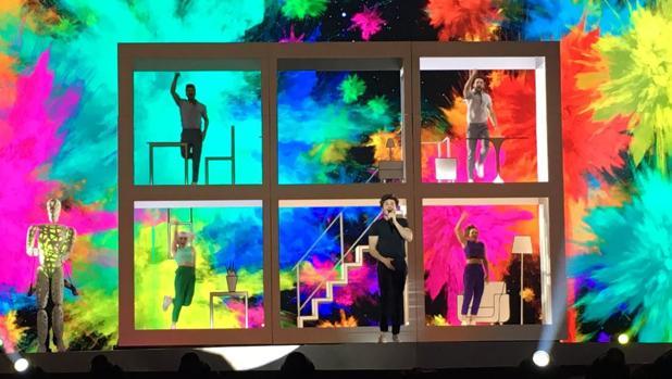 Miki ha ensayado este viernes por primera vez sobre el escenario de Tel Aviv