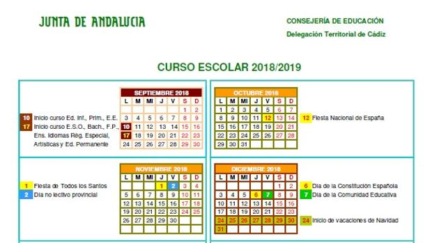 Calendario Escolar 2020 Andalucia.Descubre Los Festivos Marcados En El Calendario Escolar 2018 2019