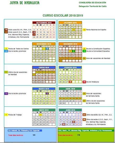 Calendario Escolar 2020 19 Andalucia.Descubre Los Festivos Marcados En El Calendario Escolar 2018 2019