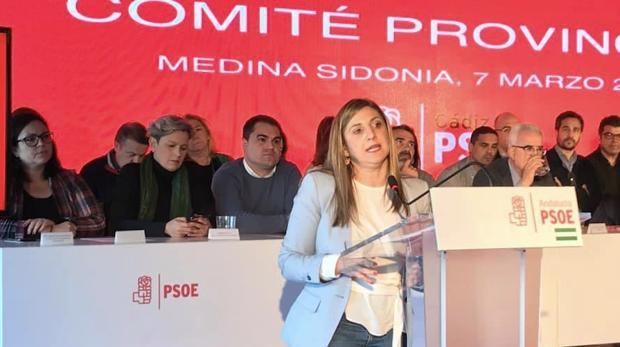 La secretaria provincial del PSOE, Irene García, durante la reunión del Comité que aprobó la lista que ahora ha sido modificada por Madrid