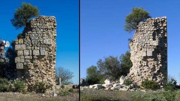 A la izquierda, la Torre de Gibalbín en 2016 y a la derecha, en su estado actual tras el derrumbe