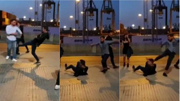 Secuencia de imágenes de la pelea entre los dos grupos de jóvenes el pasado fin de semana en la Punta.