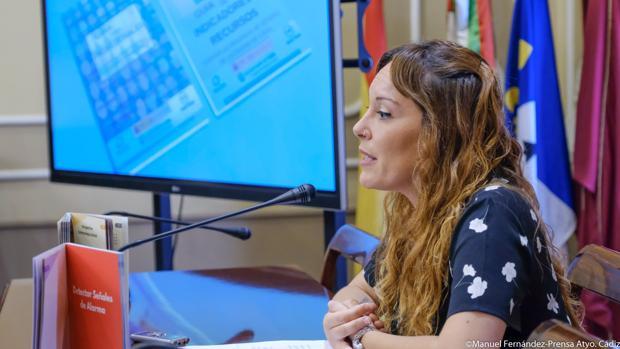 Lorena Garrón, durante la rueda de prensa.
