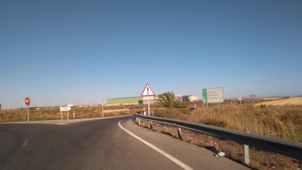 Comienzo de la carretera A-2001 en Sanlúcar de Barrameda.