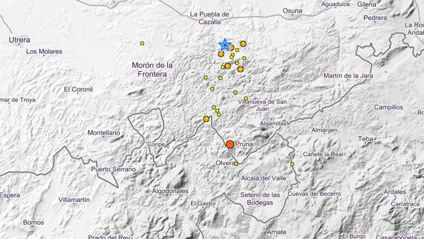 Mapa de los últimos temblores.