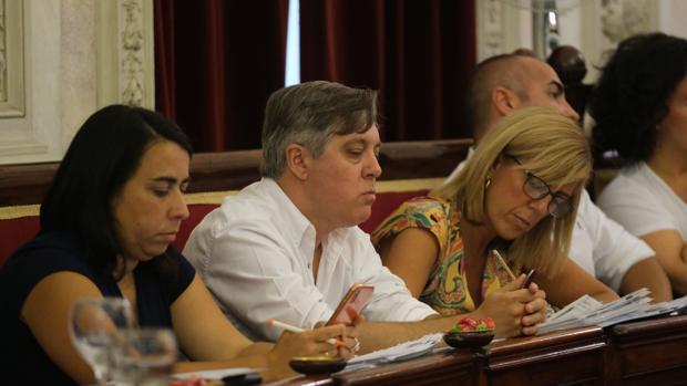 Mara Rodríguez, junto a concejales del PSOE en el Pleno.
