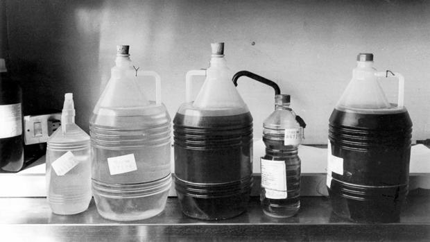 Imagen de 1981, de envases de aceite de colza que causó la dolencia